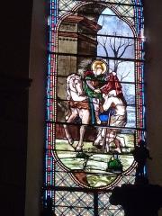 Eglise Saint-Martin et Sainte-Croix - Français:   Vitrail de l\'église d\'Allas-les-Mines, en Dordogne. Ce vitrail illustre un épisode de la vie de saint Martin (saint Martin partageant son manteau avec un pauvre).