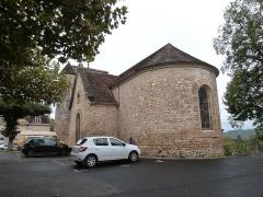 Eglise Saint-Martin et Sainte-Croix - Français:   Chevet et façade sud avec chapelle et tourelle d\'escalier (église Sainte-Croix d\'Allas-les-Mines, Dordogne).