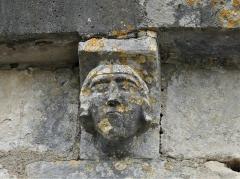 Eglise Saint-Martial - Français:   Modillon de la façade occidentale, église de Saint-Martial-de-Valette, Dordogne, France.