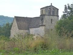Eglise Saint-Urbain - Français:   Clocher sur la façade ouest et vue extérieure de la chapelle côté nord de l\'église Saint-Urbain de Vézac (Dordogne)