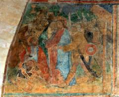 Ancienne église prieurale - Français:   Mimizan Clocher-porche Fresques-Arrestation