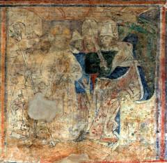 Ancienne église prieurale - Français:   Mimizan Clocher-porche Fresques-Christ devant Pilate