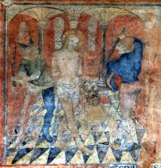 Ancienne église prieurale - Français:   Mimizan Clocher-porche Fresques-Flagellation