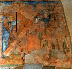 Ancienne église prieurale - Français:   Mimizan Clocher-porche Fresques-Portement de croix (Commanditaires)