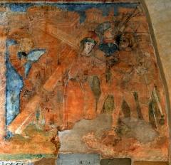 Ancienne église prieurale - Français:   Mimizan Clocher-porche Fresques-Portement de croix