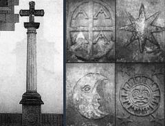 Croix de l'ancien cimetière - English:   This is a picture of the Cross of Hendaye and then a picture focusing on the base of the base of the cross