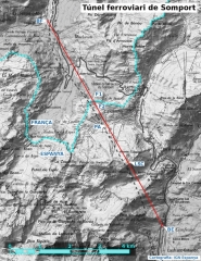 Tunnel de Pau-Canfranc - Català:   Gràfic del túnel ferroviari de  Somport amb alguns punts singulars