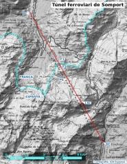 Tunnel du Somport - Català: Gràfic del túnel ferroviari de  Somport amb alguns punts singulars