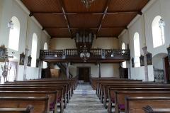 Eglise catholique des Saints-Innocents - Français:   Alsace, Bas-Rhin, Église des Saints-Innocents de Blienschwiller (PA00084626, IA00115160).  Vue intérieure de la nef vers la tribune d\'orgue.