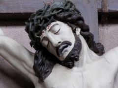 Eglise Sainte-Trophime et quatre statues en bois sculptées - Alsace, Bas-Rhin, Église Saint-Trophime d'Eschau (PA00084707, IA00023089).  Détail du Christ en croix (XIXe):      This object is indexed in the base Palissy, database of the French furniture patrimony of the French ministry of culture,under the referenceIM67000121. беларуская (тарашкевіца)| brezhoneg| català| Deutsch| English| español| suomi| français| magyar| italiano| македонски| Plattdüütsch| português| українська| +/−