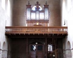 Eglise Sainte-Trophime et quatre statues en bois sculptées - Alsace, Bas-Rhin, Église Saint-Trophime d'Eschau (PA00084707, IA00023089).  Tribune d'orgue Michel Stiehr-Kern (1817-1967):      This object is indexed in the base Palissy, database of the French furniture patrimony of the French ministry of culture,under the referenceIM67000136. беларуская (тарашкевіца)| brezhoneg| català| Deutsch| English| español| suomi| français| magyar| italiano| македонски| Plattdüütsch| português| українська| +/−