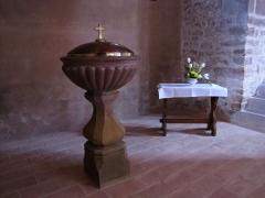 Eglise Sainte-Trophime et quatre statues en bois sculptées - Alsace, Bas-Rhin, Église Saint-Trophime d'Eschau (PA00084707, IA00023089).  Fonts baptismaux (XIXe):      This object is indexed in the base Palissy, database of the French furniture patrimony of the French ministry of culture,under the referenceIM67000119. беларуская (тарашкевіца)| brezhoneg| català| Deutsch| English| español| suomi| français| magyar| italiano| македонски| Plattdüütsch| português| українська| +/−