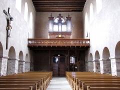 Eglise Sainte-Trophime et quatre statues en bois sculptées - Alsace, Bas-Rhin, Église Saint-Trophime d'Eschau (PA00084707, IA00023089). Vue de la nef vers la tribune d'orgue.