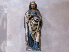 Eglise Sainte-Trophime et quatre statues en bois sculptées - Alsace, Bas-Rhin, Église Saint-Trophime d'Eschau (PA00084707, IA00023089).  Statue de Sainte Catherine d'Alexandrie (XVe):       This object is classé Monument Historique in the base Palissy, database of the French furniture patrimony of the French ministry of culture,under the referencesPM67000070 and IM67000123. беларуская (тарашкевіца)| brezhoneg| català| Deutsch| English| español| suomi| français| magyar| italiano| македонски| Plattdüütsch| português| українська| +/−