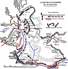 Sommet et musée du Donon -  Schéma des mouvements des 20 et 21 août 1914 au Donon