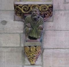 Eglise Saint-Georges - Alsace, Bas-Rhin, Église Saint-Georges de Haguenau (PA00084724, IA00061901). Culot gothique entre nef et transept.