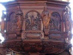 Ancienne église des Jésuites, ou église catholique Saint-Georges - Alsace, Bas-Rhin, Église Saint-Georges de Molsheim, ancienne église des Jésuites (1618) (PA00084798, IA67006097).  Chaire à prêcher (1631):       This object is classé Monument Historique in the base Palissy, database of the French furniture patrimony of the French ministry of culture,under the referencesPM67000752 and IM67009672. беларуская (тарашкевіца)  brezhoneg  català  Deutsch  English  español  suomi  français  magyar  italiano  македонски  Plattdüütsch  português  українська  +/−