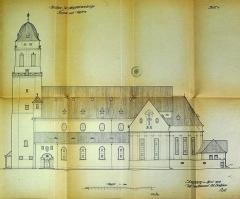 Eglise Sainte-Madeleine - English: Magdalenenkirche (Straßburg). Originalbauzeichnung von Fritz Beblo.