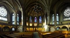 Eglise réformée Saint-Paul - Alsace, Bas-Rhin, Église réformée Saint-Paul (1892) de Strasbourg (PA00085029), place du Général-Eisenhower: Vue panoramique de la nef.