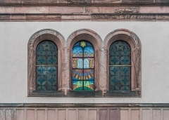 Synagogue - English: Windows of the Synagogue of Colmar, Haut-Rhin, France