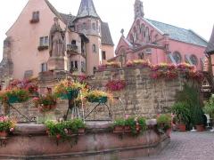 Fontaine datée de 1557 située devant l'Ecole des Filles - English:   Castle in Eguisheim, Alsace, birthplace of Pope Leo IX
