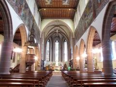 Eglise catholique Saint-Hippolyte - Français:   Alsace, Haut-Rhin, Église Saint-Hippolyte de Saint-Hippolyte (PA00085661, IA68005984): Vue intérieure de la nef vers le chœur.