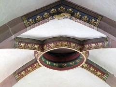 Eglise Saint-Maurice - Alsace, Église Saint-Maurice de Soultz-Haut-Rhin (PA00085681, IA00111946). Clé de voûte gothique (XIIIe-XIVe-XVe):      This object is indexed in the base Palissy, database of the French furniture patrimony of the French ministry of culture,under the referenceIM68004111. беларуская (тарашкевіца)| brezhoneg| català| Deutsch| English| español| suomi| français| magyar| italiano| македонски| Plattdüütsch| português| українська| +/−