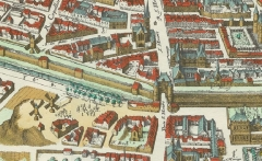 Eglise Saint-Roch - English: The butte des Moulins (=Mills hill) on the plan of Mérian of Paris (France) (1615).
