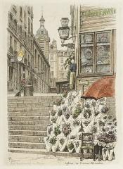 Eglise Notre-Dame-de-Bonne-Nouvelle - English:   Eglise de Bonne-Nouvelle. Hand-coloured etchings of 1870s street scenes in Paris by A.-P Martial