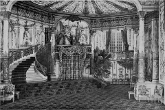 Théâtre des Variétés - English: Decor of the comedy Education Prince of Maurice Donnay at the Théâtre des Variétés in Paris in May 1900. This is the act III, entitled: The Feast of Kings. Education de prince is a comedy in four acts by Maurice Donnay, first published as a soap opera in the magazine La Vie Parisienne in 1893 and created on the stage of the Théâtre des Variétés on 17 March 1900 with Albert Brasseur, Jeanne Granier, Ève Lavallière and Amélie Diéterle.