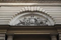 Hôtel d'Hallwyl - Deutsch: Hôtel d'Hallwyll, 28 rue Michel-le-Comte, im 3. Arrondissement in Paris (Île-de-France/Frankreich), Relief über dem Eingang