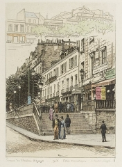 Théâtre Dejazet - English: The steps of the Théâtre Déjazet. Hand-coloured etchings of 1870s street scenes in Paris by A.-P Martial