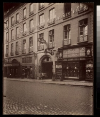 Immeuble - English:  Digital Accession Number: 1981:0953:0058.0001  Maker: Eugène Atget (French, 1857-1927)  Title: Maison de Rapport du Couvent St. Lazare - 105 Fbg. St. Denis (10e arr)  Date: 1909  Medium: albumen print  Dimensions: 21.8 x 17.9 cm. (trimmed)    George Eastman House Collection  General – information about the George Eastman House Photography Collection is available at http://www.eastmanhouse.org/inc/collections/photography.php.   For information on obtaining reproductions go to: http://www.eastmanhouse.org/flickr/index.php?pid=198109530058.