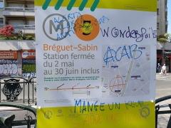 Métropolitain, station Bréguet-Sabin - Français:   Graffitis anti-flics, antifas et anars sur la carte du métro Bréquet - Sabin à Paris lors de l\'acte XXIII: \