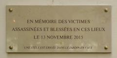 Ancien café-concert Le Bataclan - English: Plaque at Bataclan, Boulevard Voltaire, Paris, France, October 2019