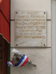 Immeubles -  Rue des Immeubles-Industriels: Commemorative plaque of Rajman, member of the Manouchian Resistance group during WWII, shot by the Germans in 1944.