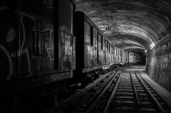 Métropolitain, station Villiers -  Vintage Sprague rolling stock in a disused tunnel inside the Paris Metro system.