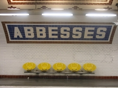 Métropolitain, station Abbesses - English: Name of the station