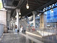 Métropolitain, station Barbès-Rochechouart -  Métro de Paris, Sous le viaduc, Station Barbes Rochechouart (ligne 2), Paris, France