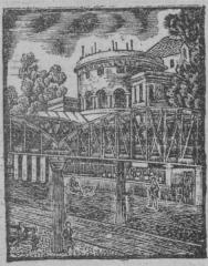 Ancienne barrière d'octroi de la Villette ou rotonde de la Villette - English:   Rotonde de La Villette, woodcut