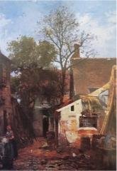 Auberge Ganne - English: La Cour de l'auberge Ganne, Barbizon, oil on painting, unknown location.