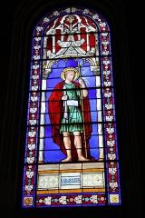 Eglise Saint-Martin - Deutsch: Katholische Pfarrkirche Saint-Martin in Jouy-en-Josas im Département Yvelines in der Region Île-de-France (Frankreich), Bleiglasfenster von Paul Nicod (1858), Darstellung: hl. Sebastian