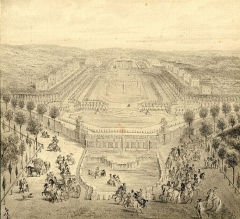 Domaine national de Marly - English: 19th century drawing of the Château de Marly after a 1724 drawing by an anonymous artist
