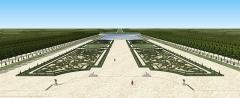 Château de Pontchartrain (également sur commune de Jouars-Pontchartrain) - Français:   Restitution 3D de la Grande Perspective des jardins du château de Pontchartrain, début du XVIIIe siècle
