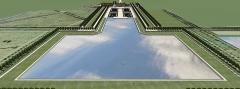 Château de Pontchartrain (également sur commune de Jouars-Pontchartrain) - Français:   Vue cavalière de Pontchartrain, pour comparer la réalité avec le tableau de Pierre-Denis Martin