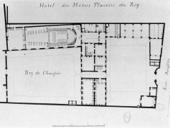Domaine national : Hôtel des Menus-Plaisirs - English: Plan of the Hôtel des Menus-Plaisirs on the Rue Bergère in Paris