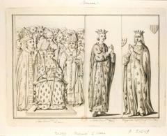 Propriété des Meissonnier -  Sacre de St Louis. Statue de St Louis. Marguerite de Provence f.me de St Louis, dessin de Limozin (17..-18..)