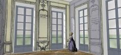 Domaine de Bellevue : ancien château - Français:   Schéma restituant le cabinet de Mme Adélaïde à Bellevue, vers 1774, avec les boiseries et glaces remployées.
