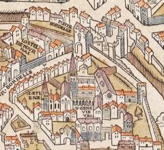 Ancienne abbaye Sainte-Geneviève, actuel lycée Henri IV - English: Bordelle gate and Abbey of St Genevieve on the plan de Truschet and Hoyau (1550).