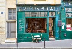 Immeuble - English: Happy Window Wednesday Flickr friends!  :)  One half of the restaurant Gaudeamus, located at 47 rue de la Montagne Ste Geneviève, 5ème, Paris.